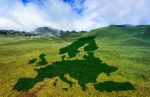 Obrázek louky s mapu Evropy